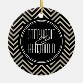 Art Deco Black and Beige Chevron Pattern Christmas Ornament