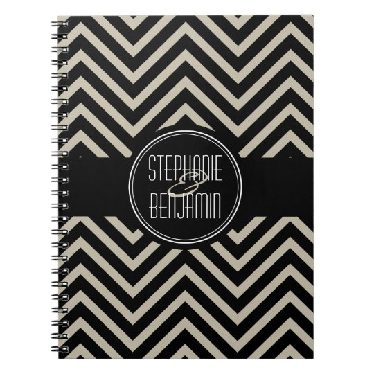 Art Deco Black and Beige Chevron Pattern Notebook