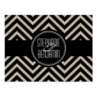 Art Deco Black and Beige Chevron Pattern Postcard