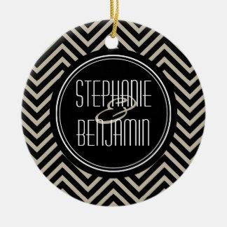 Art Deco Black and Beige Chevron Pattern Round Ceramic Decoration