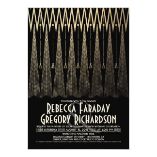 Art Deco Black and Gold Gatsby Chic Wedding Card