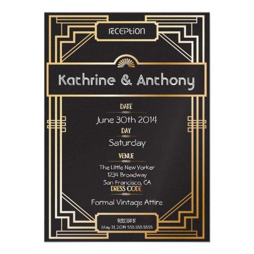 Art Deco Black and Gold Gatsby Reception Personalized Invitation