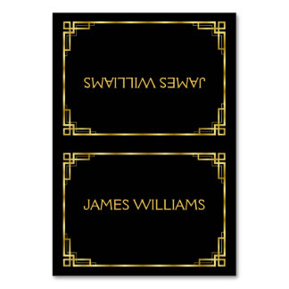 Art Deco Black And Gold Place Setting Cards