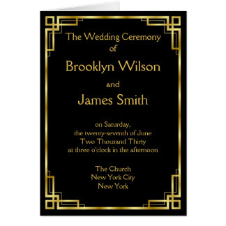 Art Deco Black And Gold Wedding Programs Card