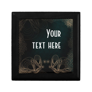 Art deco black and golden butterflies design small square gift box
