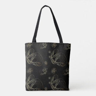 Art deco black and golden seamless pattern. tote bag