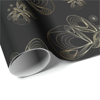 Art deco black and golden seamless pattern with bu wrapping paper