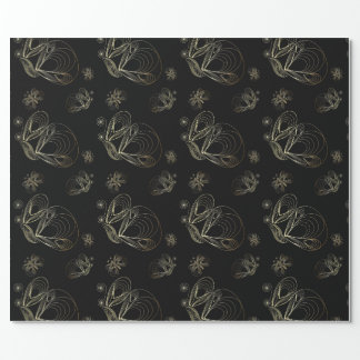 Art deco black and golden seamless pattern wrapping paper