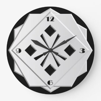 Art Deco black and white geometric pattern Large Clock