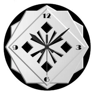 Art Deco black and white geometric pattern Wall Clocks