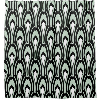 Art Deco Black and White on Custom Color Sea-Foam Shower Curtain