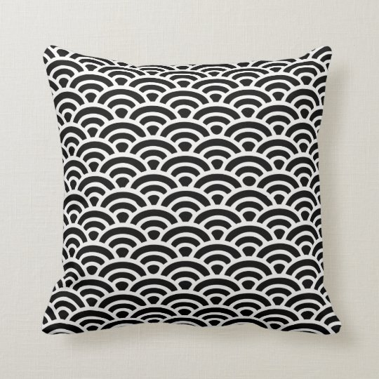 Art Deco Black and White Pattern Cushion