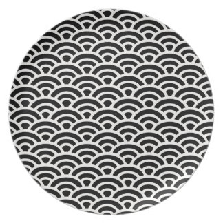 Art Deco Black and White Pattern Party Plate