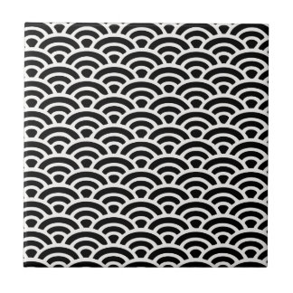 Art Deco Black and White Pattern Small Square Tile