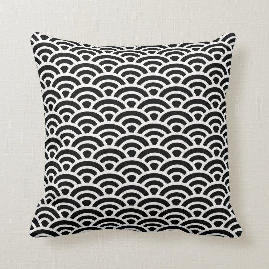Art Deco Black and White Pattern Throw Pillow