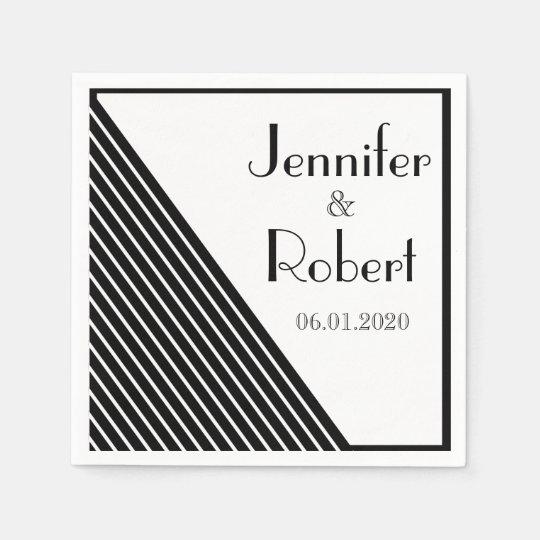 Art Deco Black and White Stripe Wedding Disposable