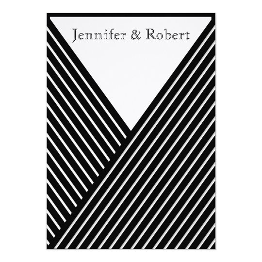 Art Deco Black and White Stripe Wedding Invitation