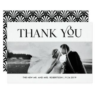 Art Deco Black and White   Wedding Photo Thank You Card