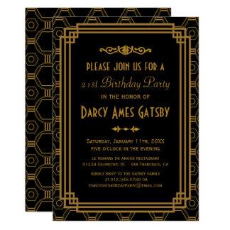 Art Deco Black Birthday Party Invitations