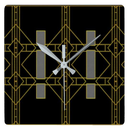 Art Deco Black & Gold Design Wall Clock