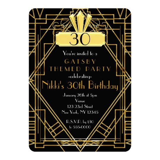 Art Deco Black & Gold Gatsby Party Invitation