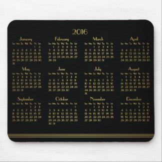 Art Deco Black Gold Yearly Calendar 2016 Mousepad