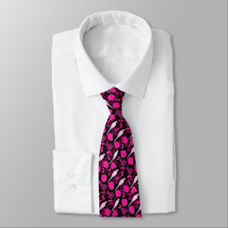 ART DECO BLACK PINK FUCHSIA FLOWERS,WHITE PARROTS TIE