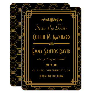 Art Deco Black Save The Dates Card