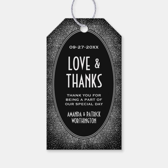 Art Deco Black Silver Wedding Thank You Favour