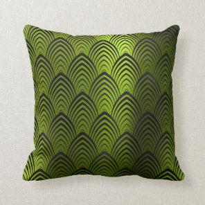 Art Deco Black Tropic Metallic Geometric Scales Cushion