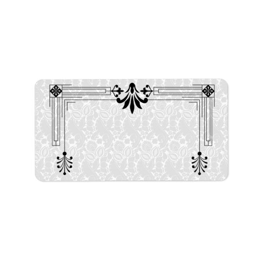 Art Deco Black White Blank Mailing Label Address Label