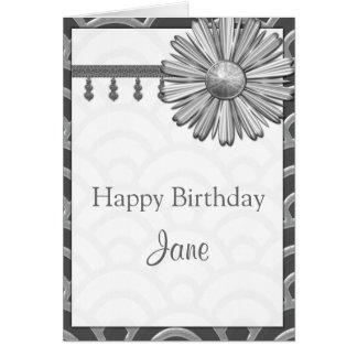Art Deco Black, White, Silver Birthday Invites Greeting Card