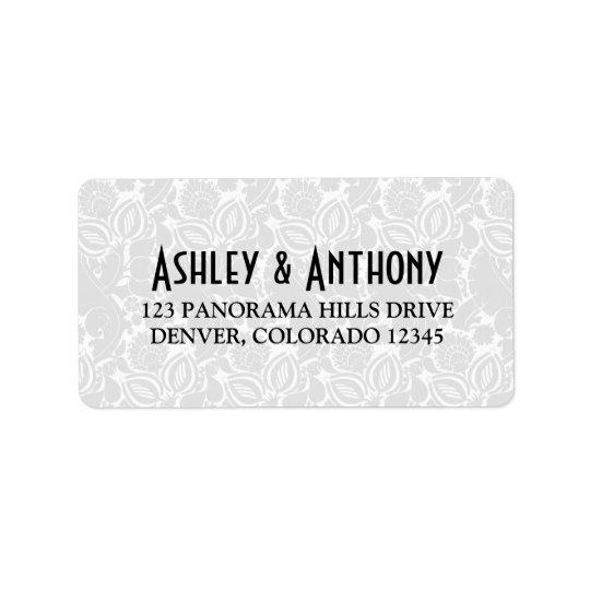 Art Deco Black White Wedding Address Label
