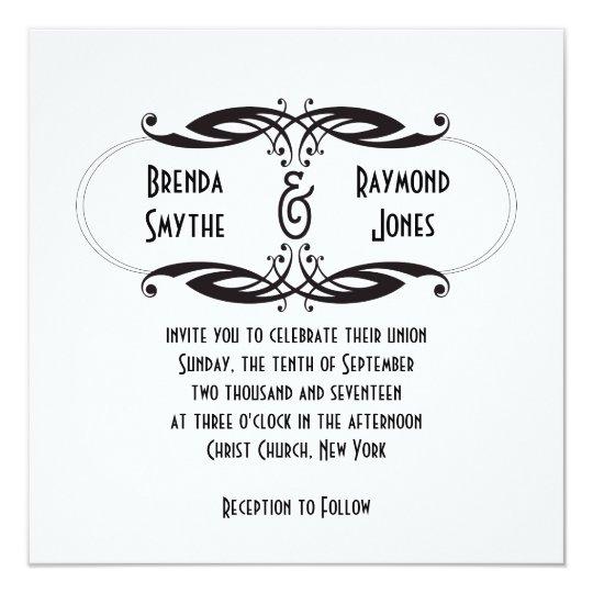 Art Deco Black White Wedding Invitation | Initials