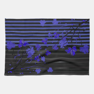 Art Deco Blue and Black Floral Towels