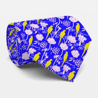 ART DECO BLUE WHITE FLOWERS WITH YELLOW PARROTS TIE