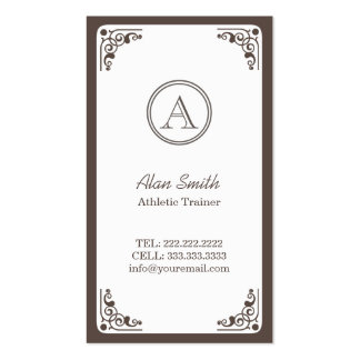 Art Deco Border Athletic Trainer Business Card Templates