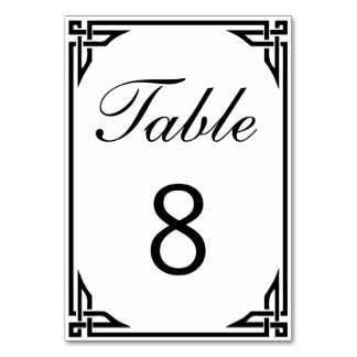 Art Deco Border Double-sided Table Numbers Table Cards
