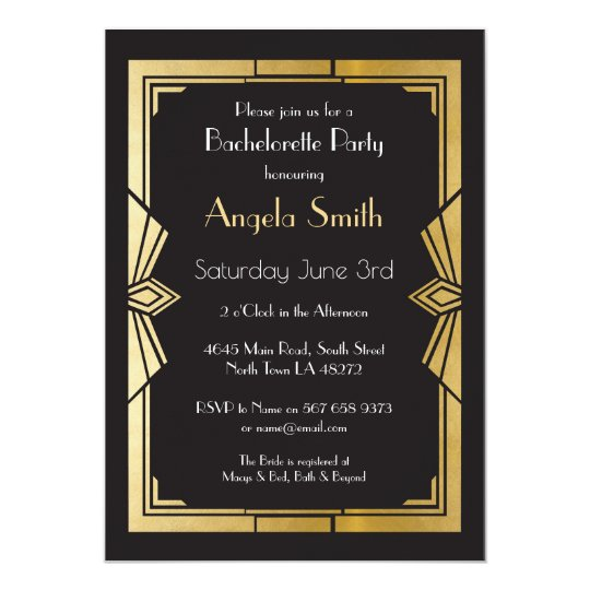 Art Deco Bridal Shower Bachelorette Party Gatsby Card