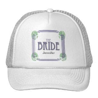 Art Deco Bride in Purple and Green Cap