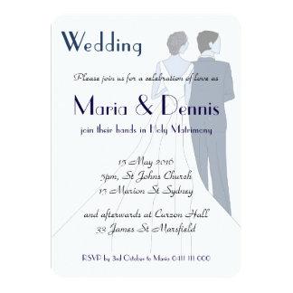 Art Deco Bridegroom Illustration Invite Blue