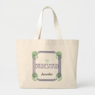 Art Deco Bridesmaid in Purple and Green Large Tote Bag