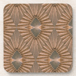 Art Deco Bronze Diamond Pattern Beverage Coasters