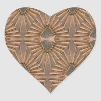 Art Deco Bronze Diamond Pattern Heart Sticker