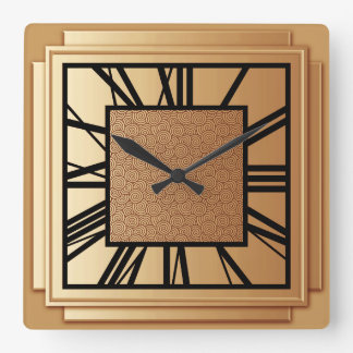 Art Deco, brushed copper Wallclock