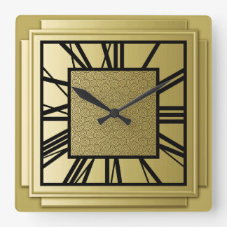 Art Deco, brushed gold Square Wall Clock