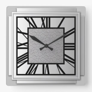 High Quality Art Deco, Brushed Silver Square Wall Clock