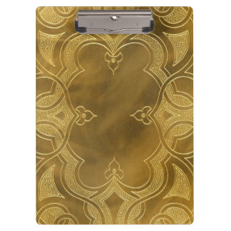 Art Deco Buckskin Leather Frame tan gold Clipboards