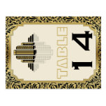 Art Deco building black gold wedding table number
