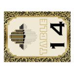 Art Deco building black gold wedding table number Postcard